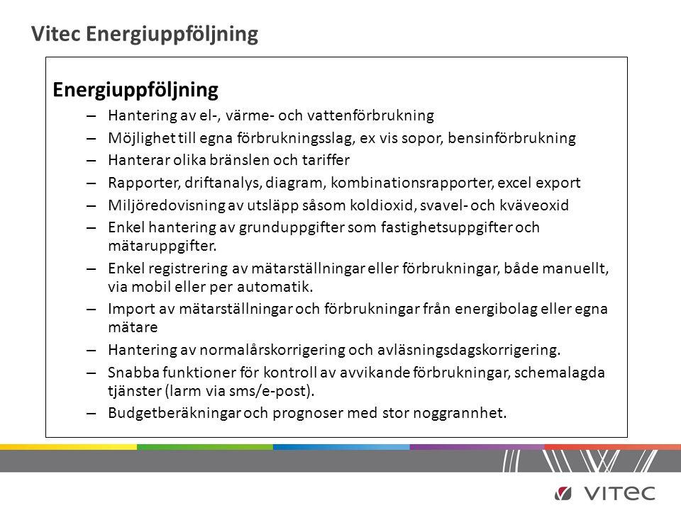 Vitec Energiuppföljning Energiuppföljning – Hantering av el-, värme- och vattenförbrukning – Möjlighet till egna förbrukningsslag, ex vis sopor, bensi