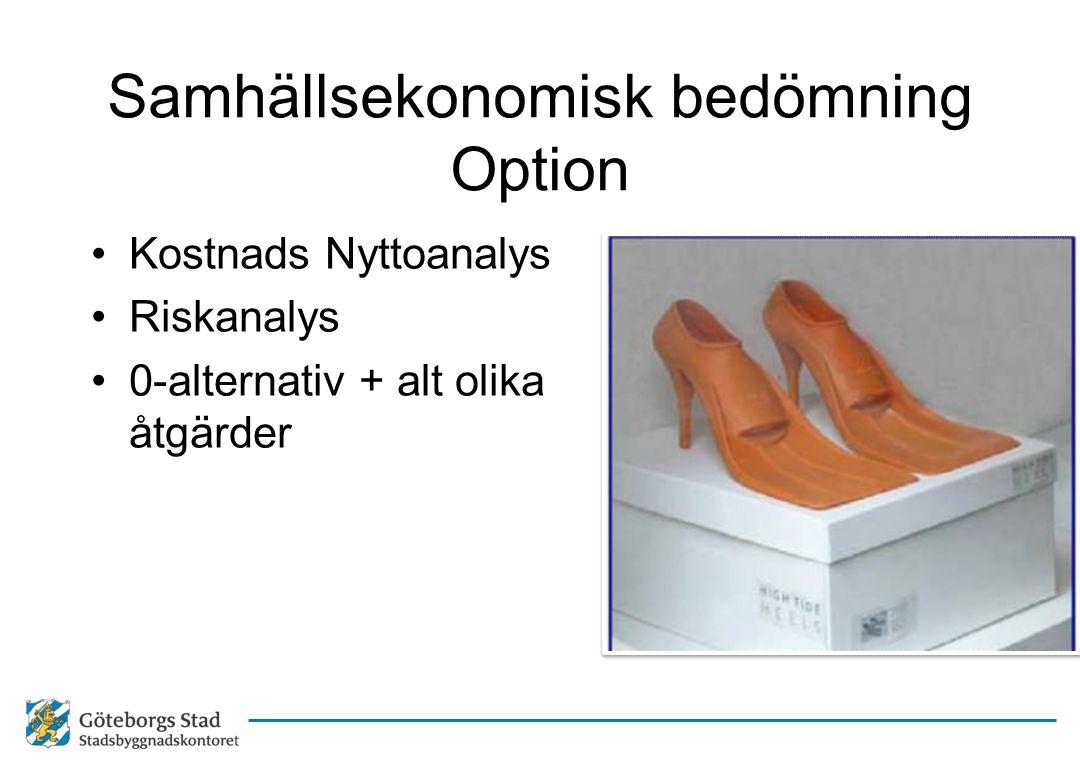 Samhällsekonomisk bedömning Option •Kostnads Nyttoanalys •Riskanalys •0-alternativ + alt olika åtgärder