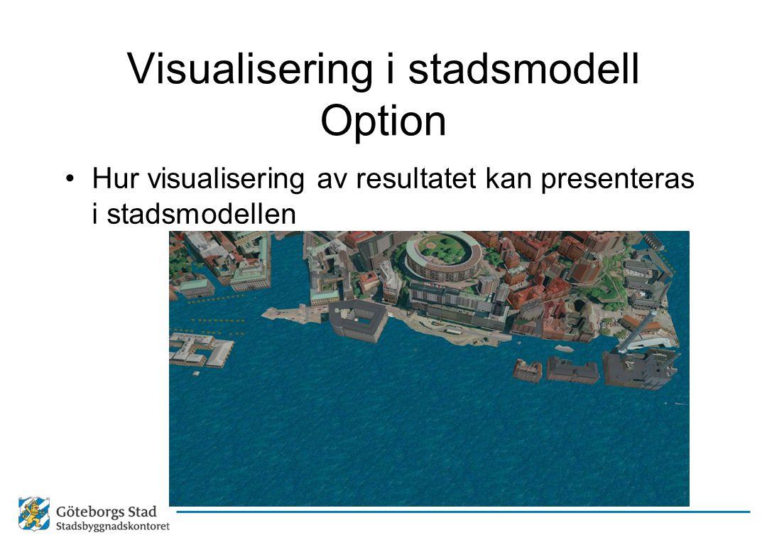 Visualisering i stadsmodell Option •Hur visualisering av resultatet kan presenteras i stadsmodellen