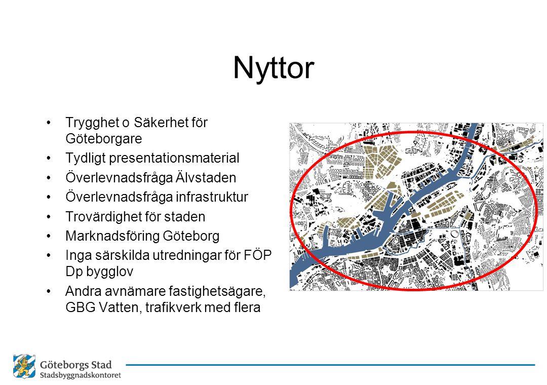 Nyttor •Trygghet o Säkerhet för Göteborgare •Tydligt presentationsmaterial •Överlevnadsfråga Älvstaden •Överlevnadsfråga infrastruktur •Trovärdighet f