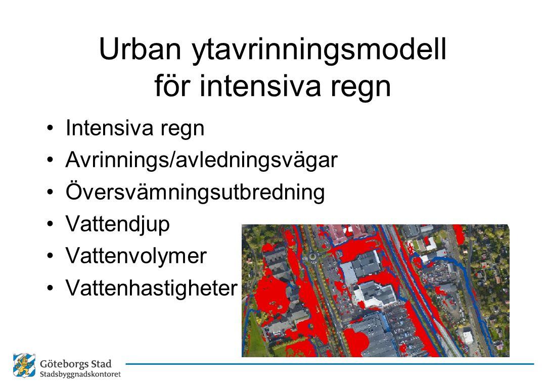 Urban ytavrinningsmodell för intensiva regn •Intensiva regn •Avrinnings/avledningsvägar •Översvämningsutbredning •Vattendjup •Vattenvolymer •Vattenhas