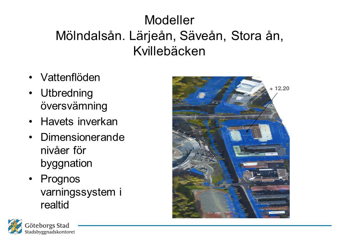 Modeller Mölndalsån. Lärjeån, Säveån, Stora ån, Kvillebäcken •Vattenflöden •Utbredning översvämning •Havets inverkan •Dimensionerande nivåer för byggn