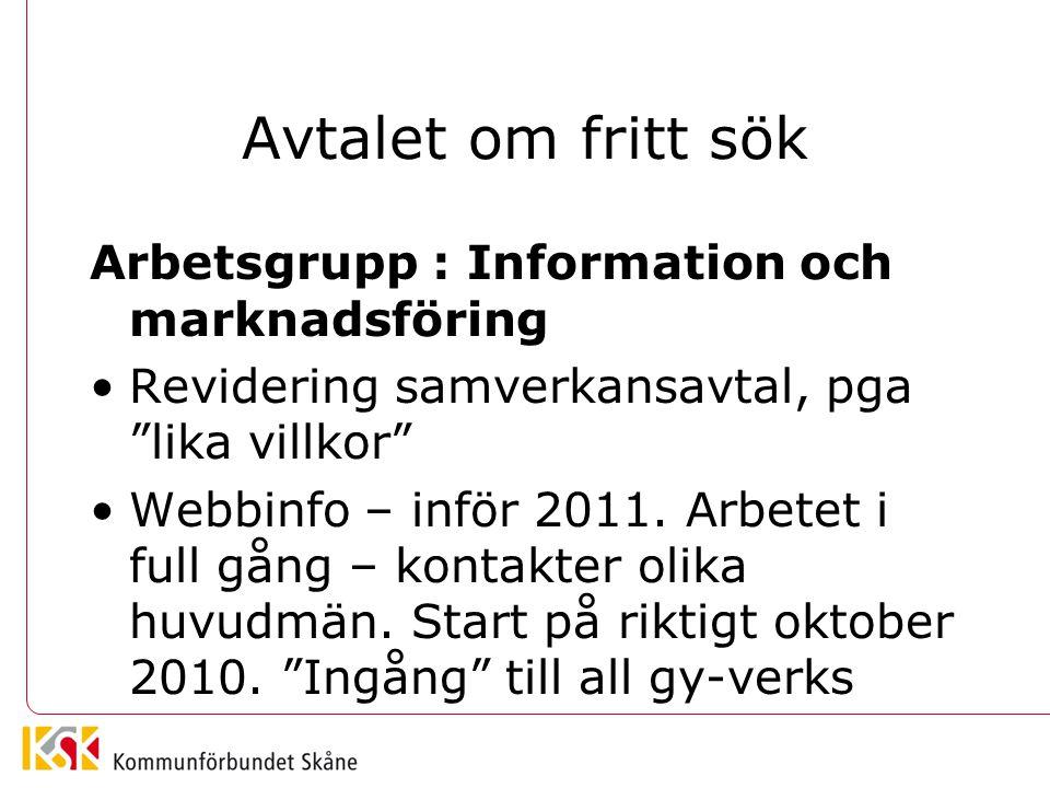 """Avtalet om fritt sök Arbetsgrupp : Information och marknadsföring •Revidering samverkansavtal, pga """"lika villkor"""" •Webbinfo – inför 2011. Arbetet i fu"""