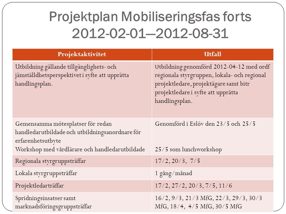 Projektplan Mobiliseringsfas forts 2012-02-01—2012-08-31 ProjektaktivitetUtfall Utbildning gällande tillgänglighets- och jämställdhetsperspektivet i syfte att upprätta handlingsplan.