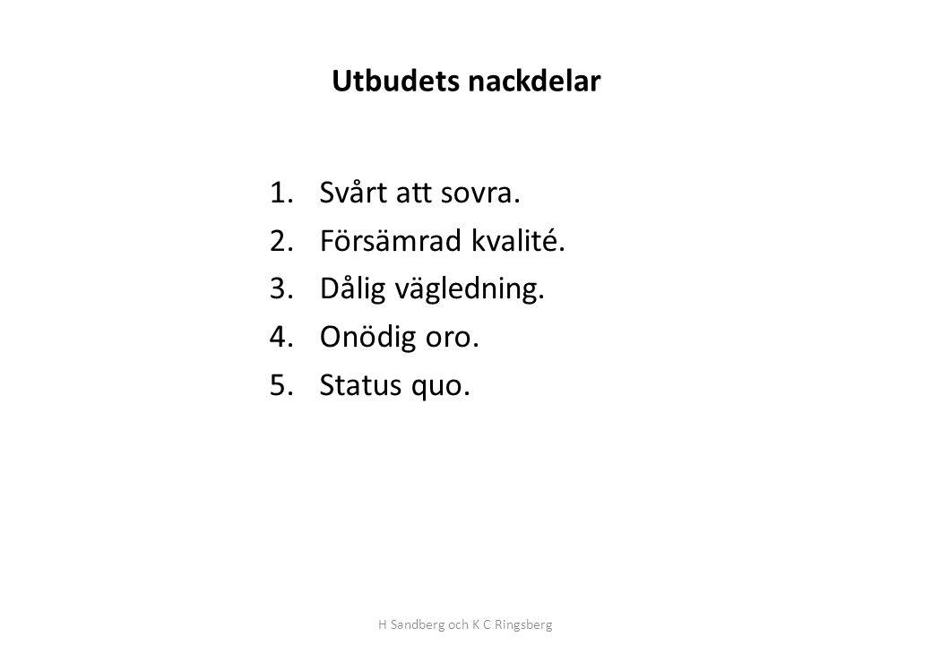 Utbudets nackdelar 1.Svårt att sovra. 2.Försämrad kvalité. 3.Dålig vägledning. 4.Onödig oro. 5.Status quo. H Sandberg och K C Ringsberg