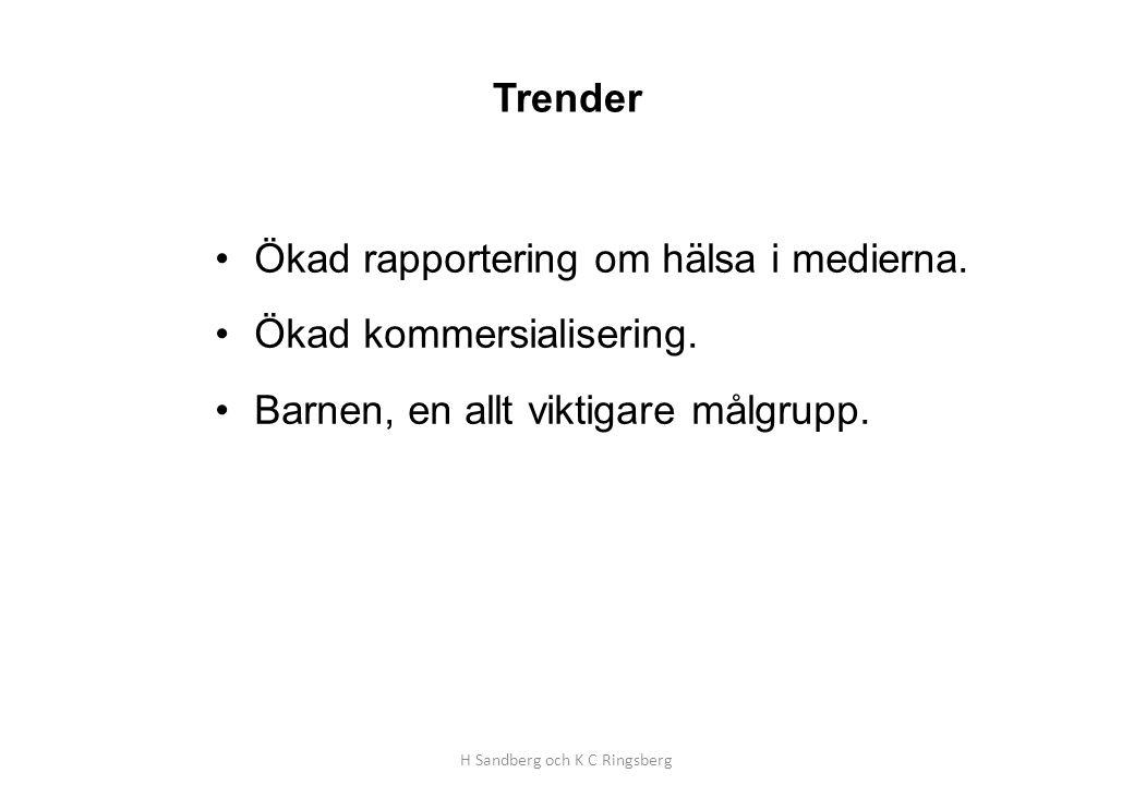 Trender •Ökad rapportering om hälsa i medierna. •Ökad kommersialisering. •Barnen, en allt viktigare målgrupp. H Sandberg och K C Ringsberg