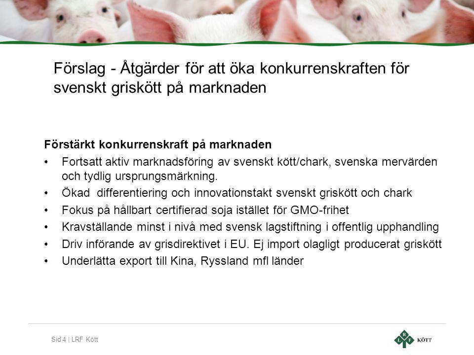 Sid 4 | LRF Kött Förslag - Åtgärder för att öka konkurrenskraften för svenskt griskött på marknaden Förstärkt konkurrenskraft på marknaden •Fortsatt aktiv marknadsföring av svenskt kött/chark, svenska mervärden och tydlig ursprungsmärkning.