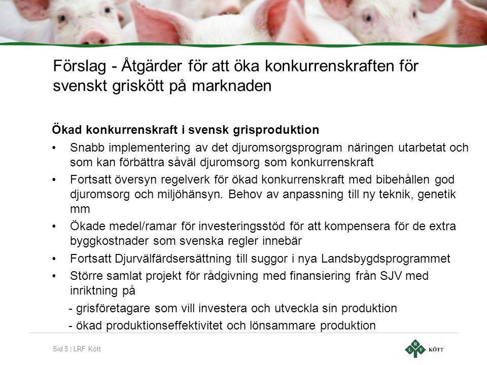 Sid 5 | LRF Kött Förslag - Åtgärder för att öka konkurrenskraften för svenskt griskött på marknaden Ökad konkurrenskraft i svensk grisproduktion •Snabb implementering av det djuromsorgsprogram näringen utarbetat och som kan förbättra såväl djuromsorg som konkurrenskraft •Fortsatt översyn regelverk för ökad konkurrenskraft med bibehållen god djuromsorg och miljöhänsyn.
