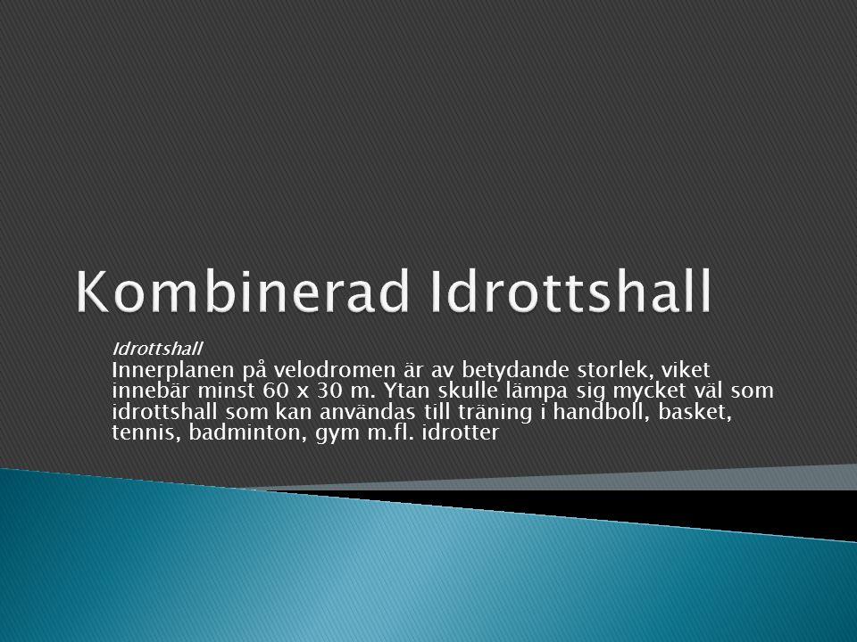 Idrottshall Innerplanen på velodromen är av betydande storlek, viket innebär minst 60 x 30 m.