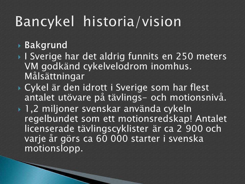  Bakgrund  I Sverige har det aldrig funnits en 250 meters VM godkänd cykelvelodrom inomhus.