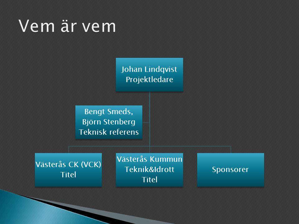 Johan Lindqvist Projektledare Västerås CK (VCK) Titel Västerås Kummun Teknik&Idrott Titel Sponsorer Bengt Smeds, Björn Stenberg Teknisk referens