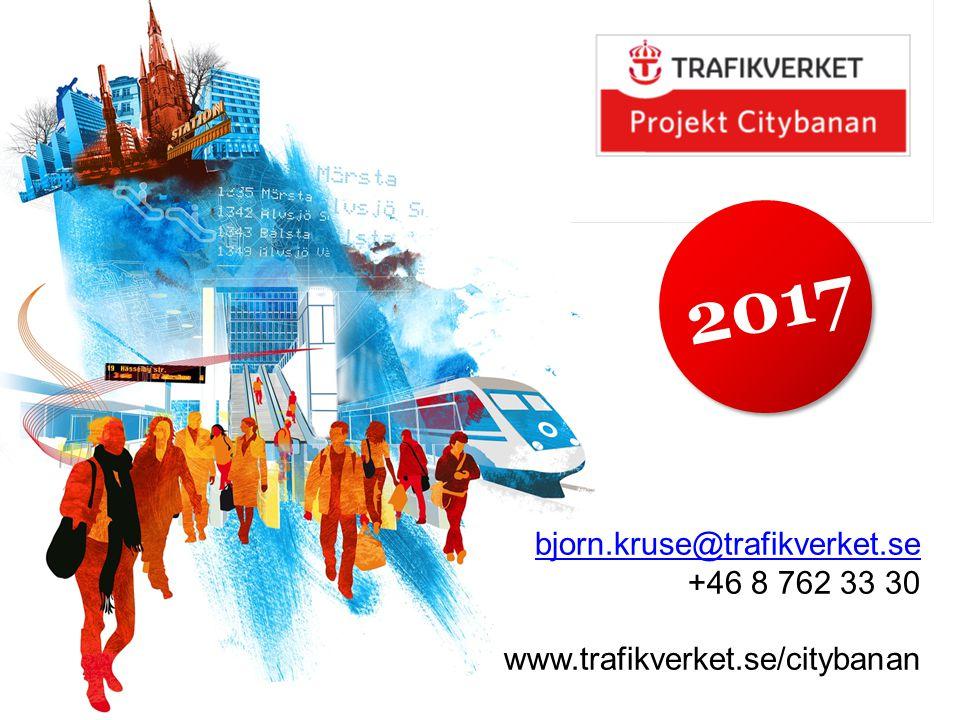 2017 bjorn.kruse@trafikverket.se bjorn.kruse@trafikverket.se +46 8 762 33 30 www.trafikverket.se/citybanan