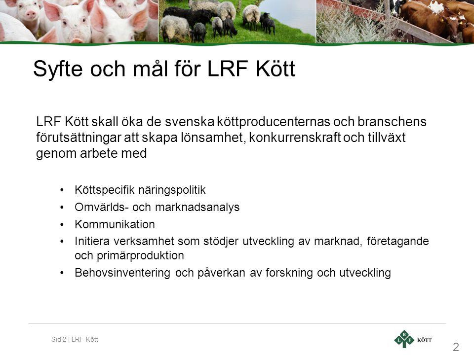 Sid 2 | LRF Kött Syfte och mål för LRF Kött LRF Kött skall öka de svenska köttproducenternas och branschens förutsättningar att skapa lönsamhet, konku