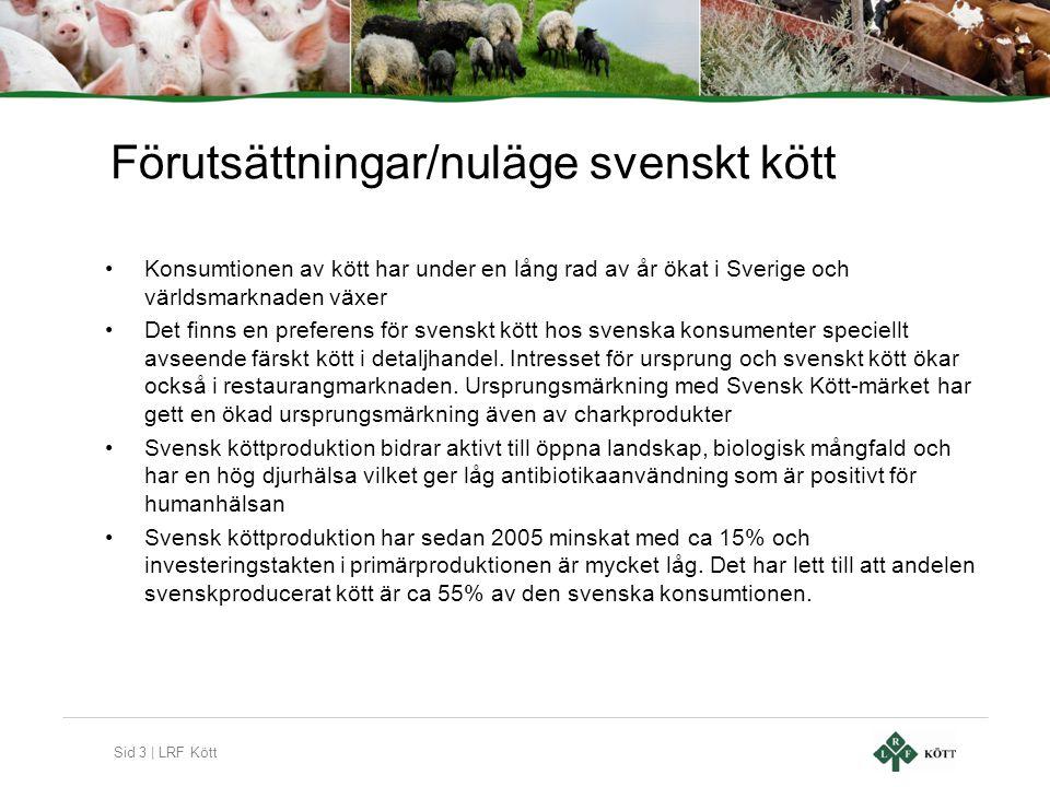Sid 3 | LRF Kött Förutsättningar/nuläge svenskt kött •Konsumtionen av kött har under en lång rad av år ökat i Sverige och världsmarknaden växer •Det f
