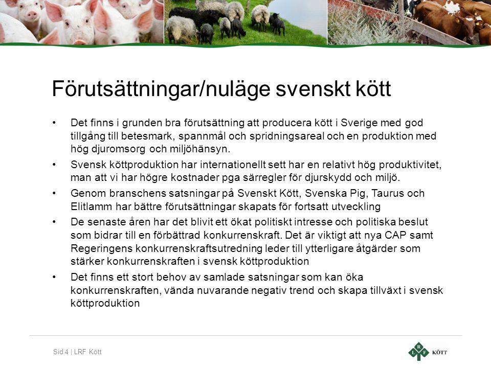Sid 4 | LRF Kött Förutsättningar/nuläge svenskt kött •Det finns i grunden bra förutsättning att producera kött i Sverige med god tillgång till betesma