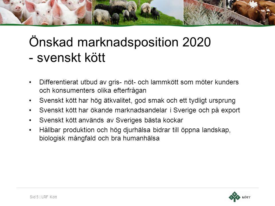 Sid 5 | LRF Kött Önskad marknadsposition 2020 - svenskt kött •Differentierat utbud av gris- nöt- och lammkött som möter kunders och konsumenters olika