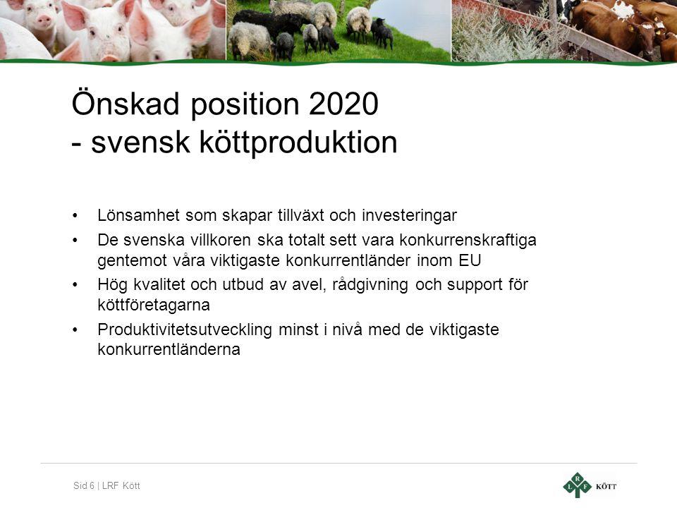 Sid 6 | LRF Kött Önskad position 2020 - svensk köttproduktion •Lönsamhet som skapar tillväxt och investeringar •De svenska villkoren ska totalt sett v