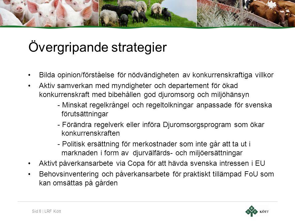 Sid 8 | LRF Kött Övergripande strategier •Bilda opinion/förståelse för nödvändigheten av konkurrenskraftiga villkor •Aktiv samverkan med myndigheter o