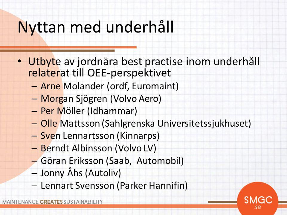 Nyttan med underhåll • Utbyte av jordnära best practise inom underhåll relaterat till OEE-perspektivet – Arne Molander (ordf, Euromaint) – Morgan Sjög