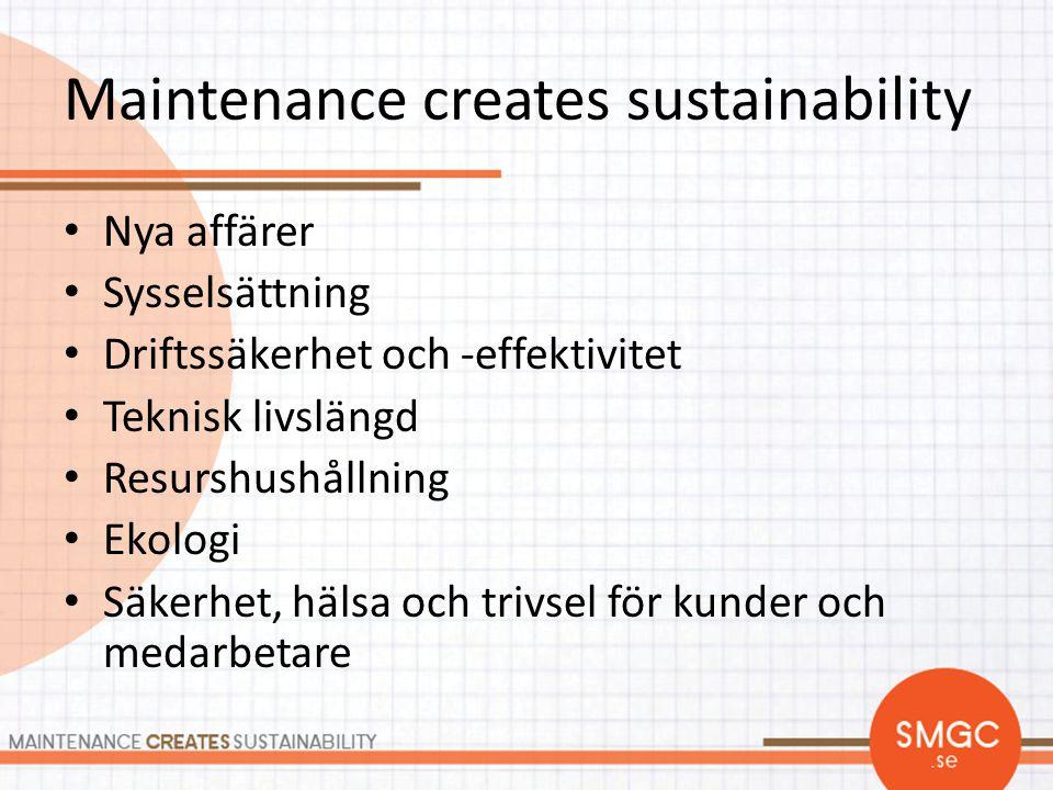 Maintenance creates sustainability • Nya affärer • Sysselsättning • Driftssäkerhet och -effektivitet • Teknisk livslängd • Resurshushållning • Ekologi