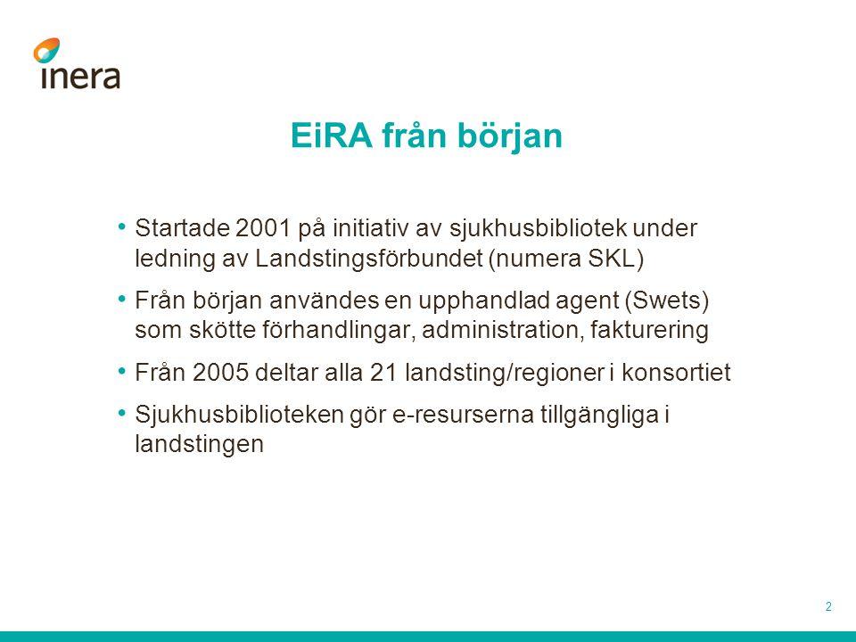 2 EiRA från början • Startade 2001 på initiativ av sjukhusbibliotek under ledning av Landstingsförbundet (numera SKL) • Från början användes en upphandlad agent (Swets) som skötte förhandlingar, administration, fakturering • Från 2005 deltar alla 21 landsting/regioner i konsortiet • Sjukhusbiblioteken gör e-resurserna tillgängliga i landstingen