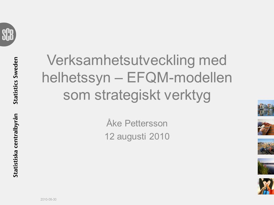 Verksamhetsutveckling med helhetssyn – EFQM-modellen som strategiskt verktyg Åke Pettersson 12 augusti 2010 2010-06-30