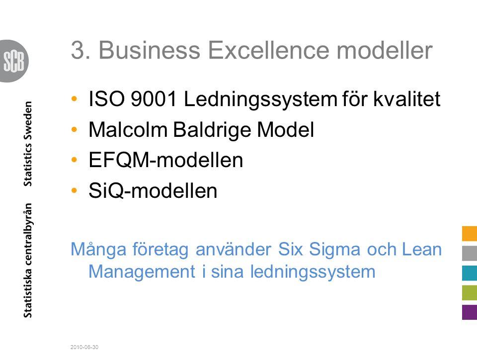 3. Business Excellence modeller •ISO 9001 Ledningssystem för kvalitet •Malcolm Baldrige Model •EFQM-modellen •SiQ-modellen Många företag använder Six