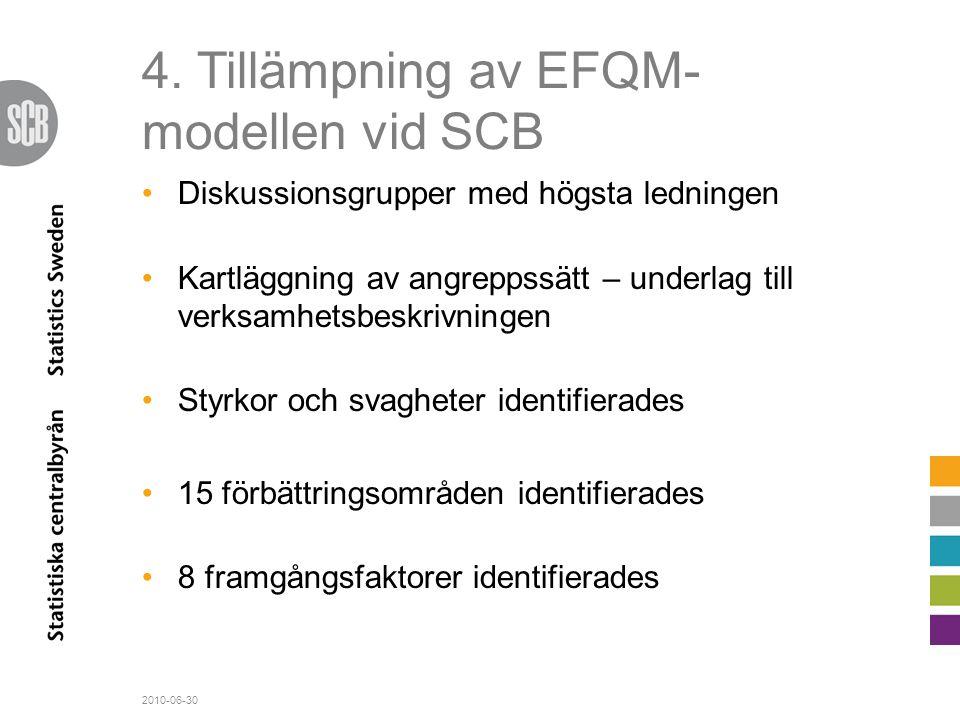 4. Tillämpning av EFQM- modellen vid SCB •Diskussionsgrupper med högsta ledningen •Kartläggning av angreppssätt – underlag till verksamhetsbeskrivning