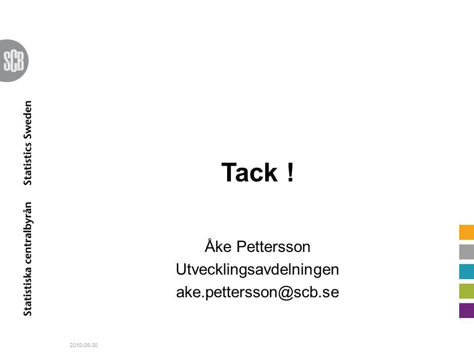 Tack ! Åke Pettersson Utvecklingsavdelningen ake.pettersson@scb.se 2010-06-30