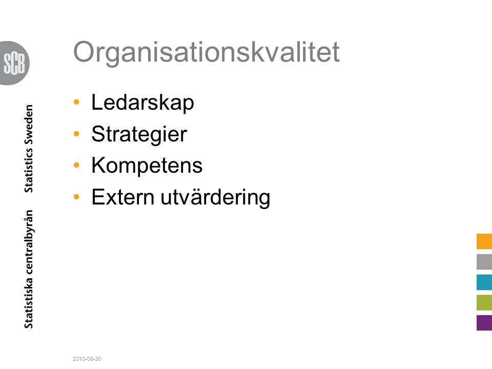Organisationskvalitet •Ledarskap •Strategier •Kompetens •Extern utvärdering 2010-06-30