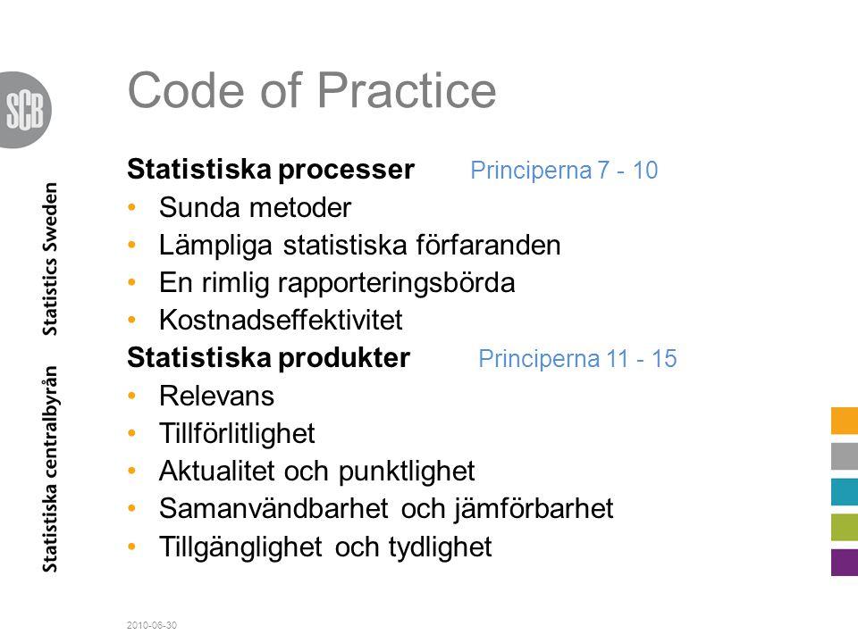 Code of Practice Statistiska processer Principerna 7 - 10 •Sunda metoder •Lämpliga statistiska förfaranden •En rimlig rapporteringsbörda •Kostnadseffe