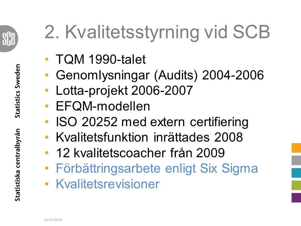 2. Kvalitetsstyrning vid SCB •TQM 1990-talet •Genomlysningar (Audits) 2004-2006 •Lotta-projekt 2006-2007 •EFQM-modellen •ISO 20252 med extern certifie