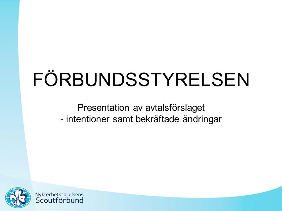 FÖRBUNDSSTYRELSEN Presentation av avtalsförslaget - intentioner samt bekräftade ändringar