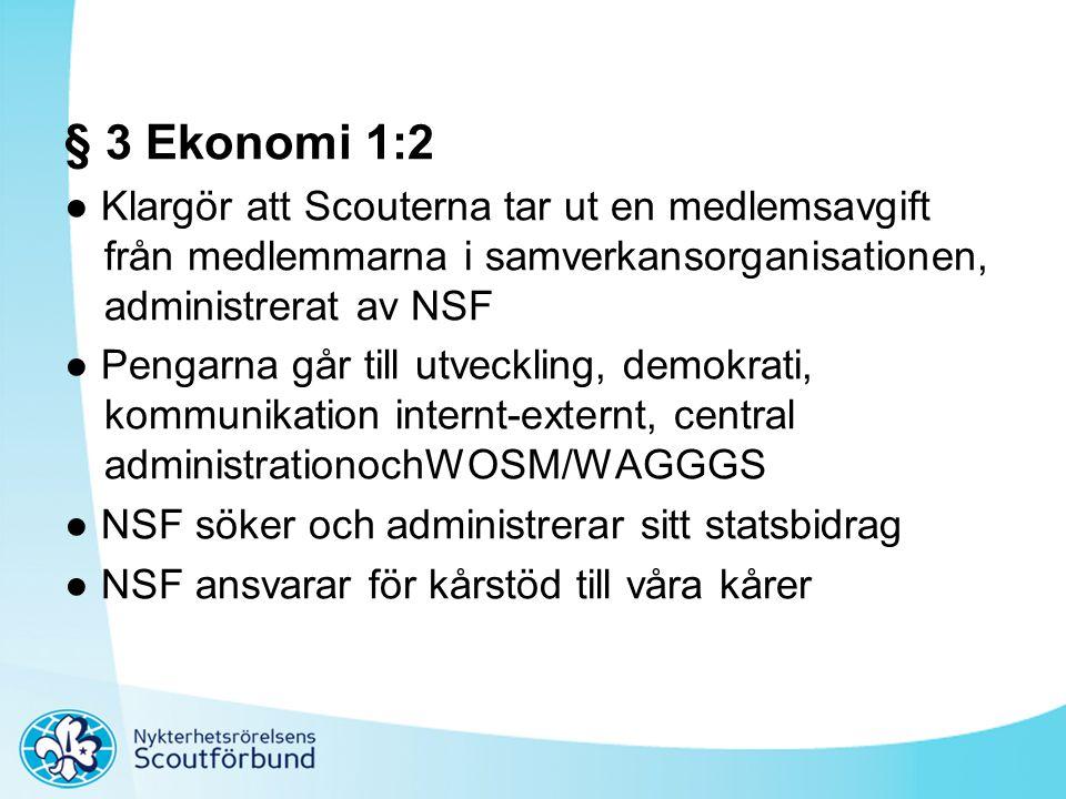 § 3 Ekonomi 1:2 ● Klargör att Scouterna tar ut en medlemsavgift från medlemmarna i samverkansorganisationen, administrerat av NSF ● Pengarna går till