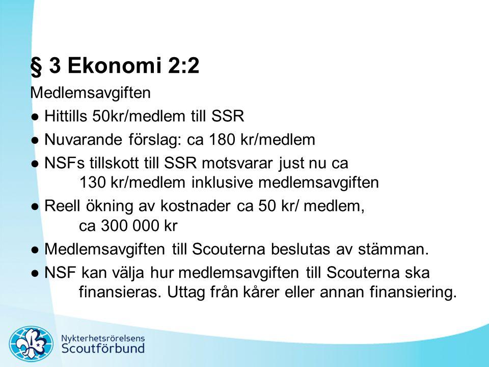 § 3 Ekonomi 2:2 Medlemsavgiften ● Hittills 50kr/medlem till SSR ● Nuvarande förslag: ca 180 kr/medlem ● NSFs tillskott till SSR motsvarar just nu ca 1