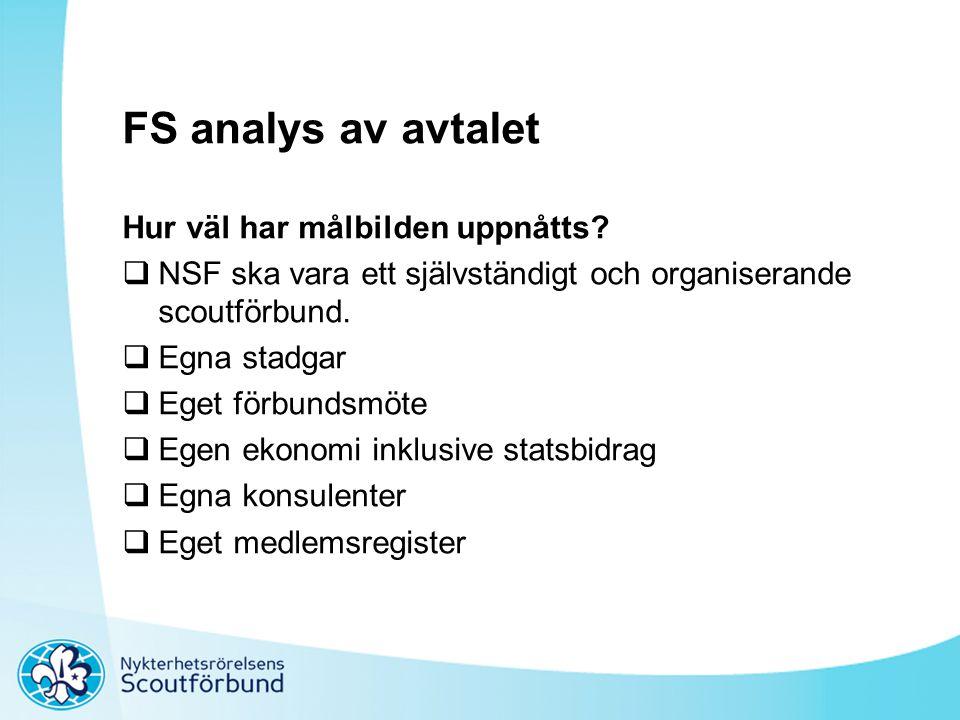 FS analys av avtalet Hur väl har målbilden uppnåtts?  NSF ska vara ett självständigt och organiserande scoutförbund.  Egna stadgar  Eget förbundsmö