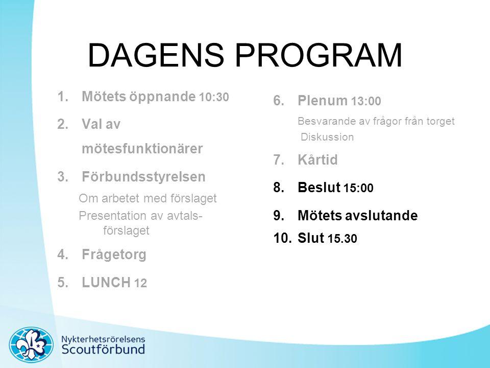 DAGENS PROGRAM 1.Mötets öppnande 10:30 2.Val av mötesfunktionärer 3.Förbundsstyrelsen Om arbetet med förslaget Presentation av avtals- förslaget 4.Frå