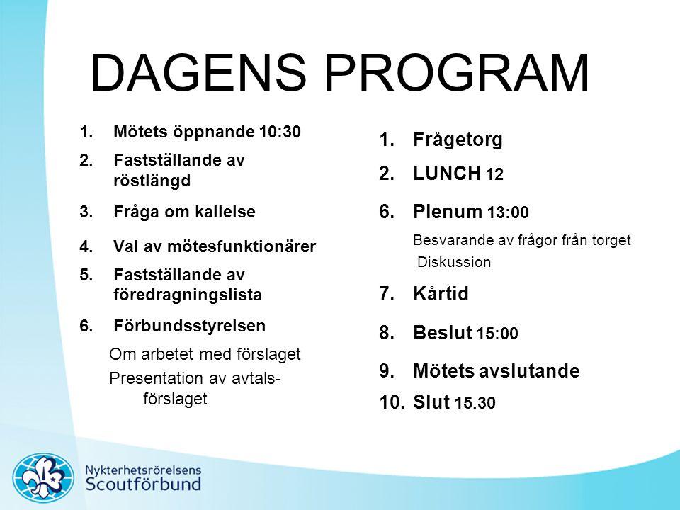 DAGENS PROGRAM 1.Mötets öppnande 10:30 2.Fastställande av röstlängd 3.Fråga om kallelse 4.Val av mötesfunktionärer 5.Fastställande av föredragningslis