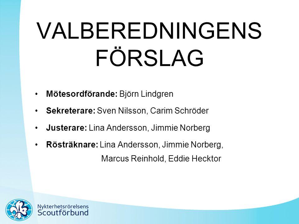 VALBEREDNINGENS FÖRSLAG •Mötesordförande: Björn Lindgren •Sekreterare: Sven Nilsson, Carim Schröder •Justerare: Lina Andersson, Jimmie Norberg •Rösträ
