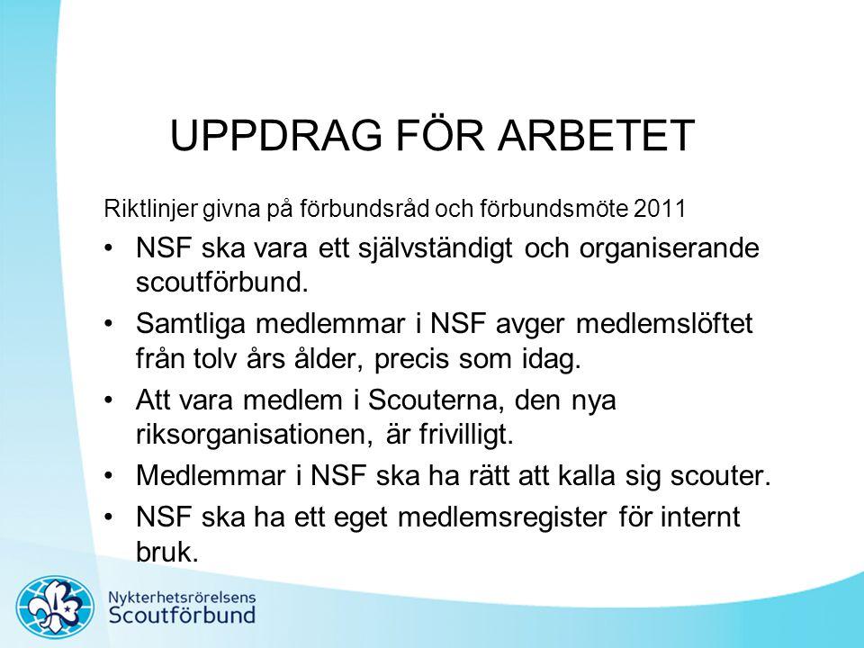 UPPDRAG FÖR ARBETET Riktlinjer givna på förbundsråd och förbundsmöte 2011 •NSF ska vara ett självständigt och organiserande scoutförbund. •Samtliga me