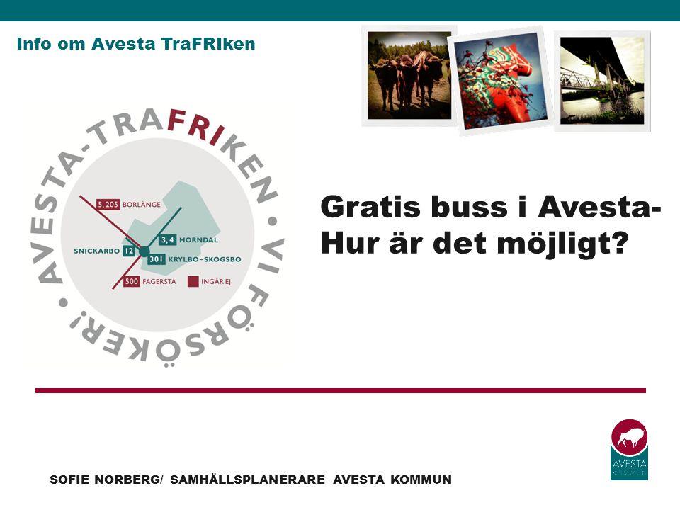 Info om Avesta TraFRIken SOFIE NORBERG/ SAMHÄLLSPLANERARE AVESTA KOMMUN Gratis buss i Avesta- Hur är det möjligt?