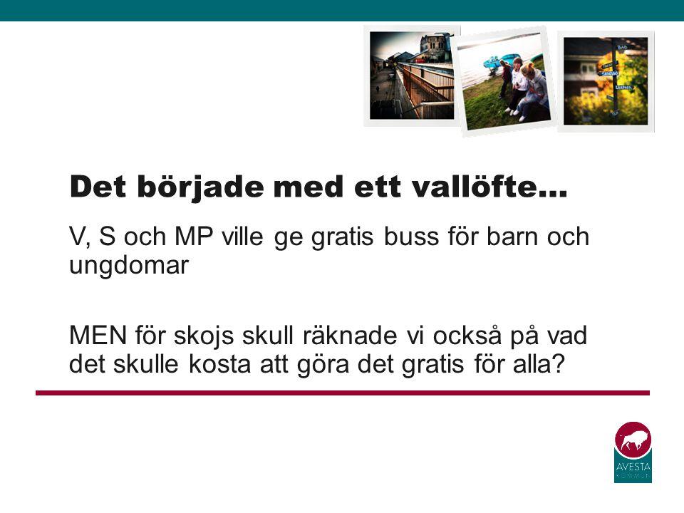 V, S och MP ville ge gratis buss för barn och ungdomar MEN för skojs skull räknade vi också på vad det skulle kosta att göra det gratis för alla? Det