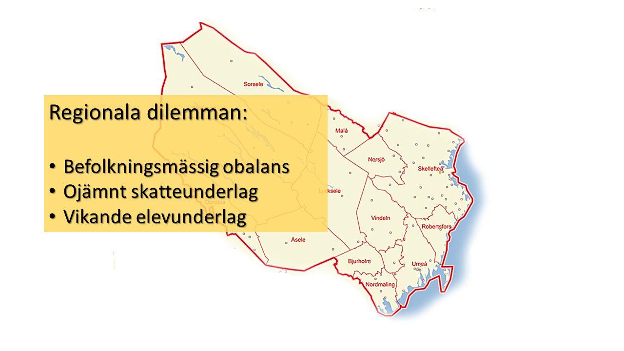 Regionala dilemman: • Befolkningsmässig obalans • Ojämnt skatteunderlag • Vikande elevunderlag