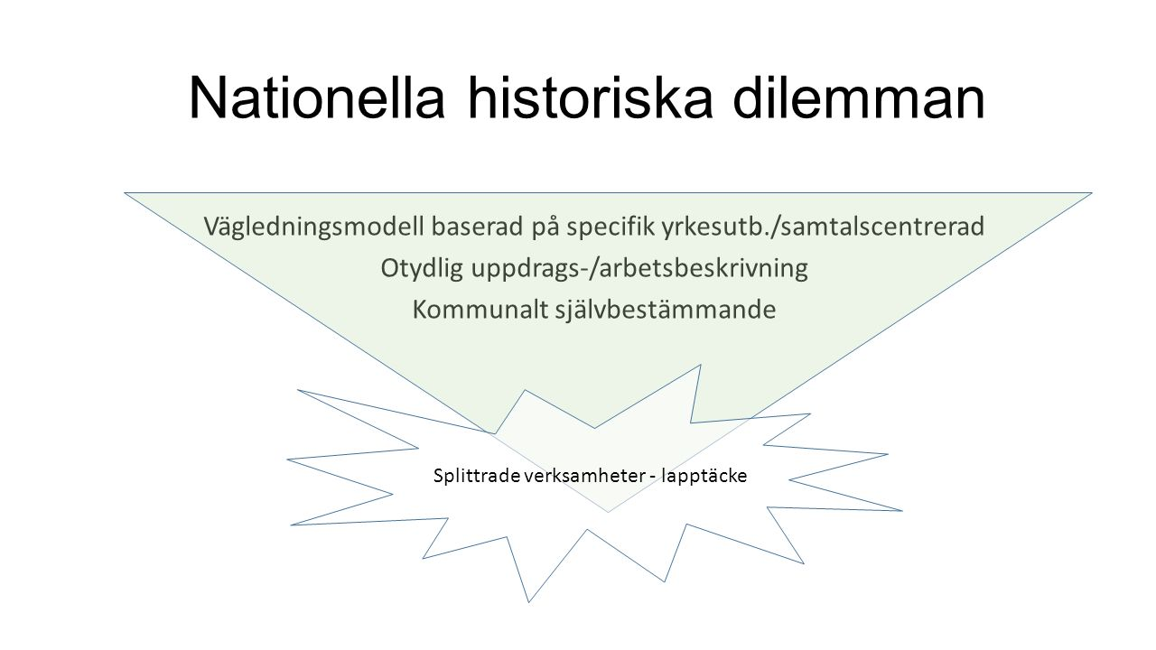 Nationella historiska dilemman Vägledningsmodell baserad på specifik yrkesutb./samtalscentrerad Otydlig uppdrags-/arbetsbeskrivning Kommunalt självbes