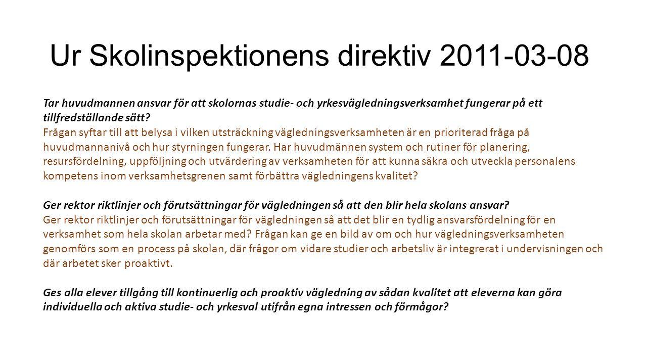 Ur Skolinspektionens direktiv 2011-03-08 Tar huvudmannen ansvar för att skolornas studie- och yrkesvägledningsverksamhet fungerar på ett tillfredställ
