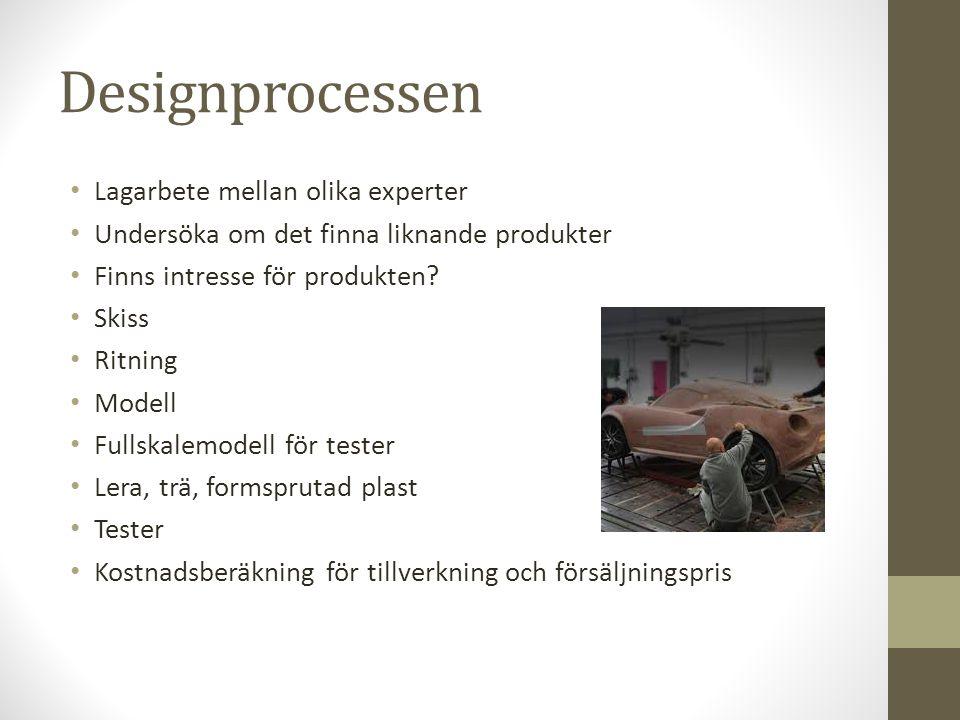 Designprocessen • Lagarbete mellan olika experter • Undersöka om det finna liknande produkter • Finns intresse för produkten? • Skiss • Ritning • Mode