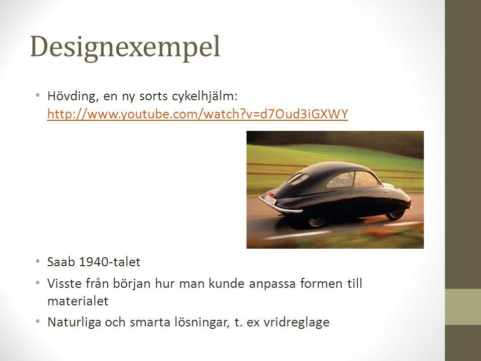 Designexempel • Hövding, en ny sorts cykelhjälm: http://www.youtube.com/watch?v=d7Oud3iGXWY http://www.youtube.com/watch?v=d7Oud3iGXWY • Saab 1940-tal