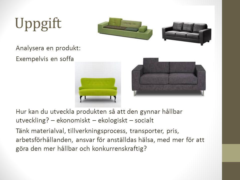 Uppgift Analysera en produkt: Exempelvis en soffa Hur kan du utveckla produkten så att den gynnar hållbar utveckling? – ekonomiskt – ekologiskt – soci