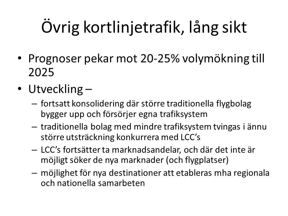 Övrig kortlinjetrafik, lång sikt • Prognoser pekar mot 20-25% volymökning till 2025 • Utveckling – – fortsatt konsolidering där större traditionella flygbolag bygger upp och försörjer egna trafiksystem – traditionella bolag med mindre trafiksystem tvingas i ännu större utsträckning konkurrera med LCC's – LCC's fortsätter ta marknadsandelar, och där det inte är möjligt söker de nya marknader (och flygplatser) – möjlighet för nya destinationer att etableras mha regionala och nationella samarbeten