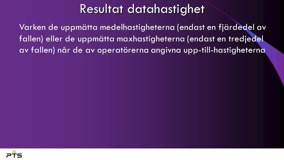 Resultat datahastighet • Varken de uppmätta medelhastigheterna (endast en fjärdedel av fallen) eller de uppmätta maxhastigheterna (endast en tredjedel av fallen) når de av operatörerna angivna upp-till-hastigheterna